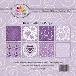 Paper Pad Dixi Craft - Heart Pattern Purple