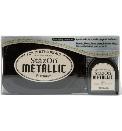 Stazon Metallic Platinum Ink Pad + Inker
