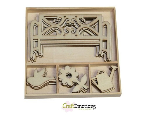 Hout Ornament Box - Garden Bench and Flower