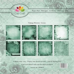 Dixi Craft Paper Pad - Vintage Flowers - green