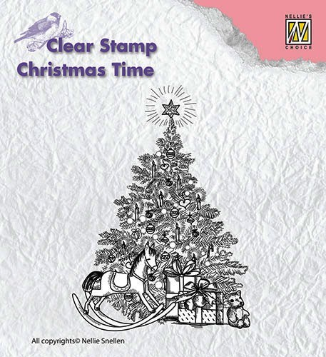 Nellie Snellen Clearstamp - Christmas Time - christmas tree with gifts