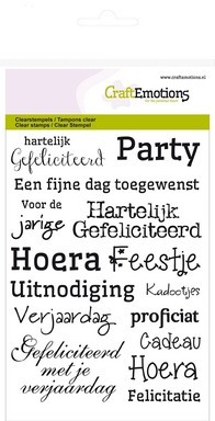 Craft Emotions Clearstamps - tekst gefeliciteerd NL