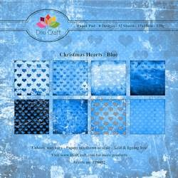 Dixi Craft Paper Pad - Christmas Hearts blue