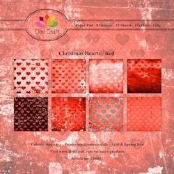 Dixi Craft Paper Pad - Christmas Hearts red