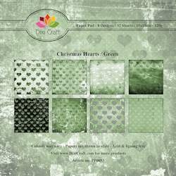 Dixi Craft Paper Pad - Christmas Hearts green