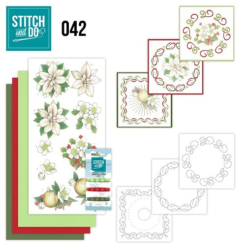 Stitch and Do Pakket - White Christmas Flowers