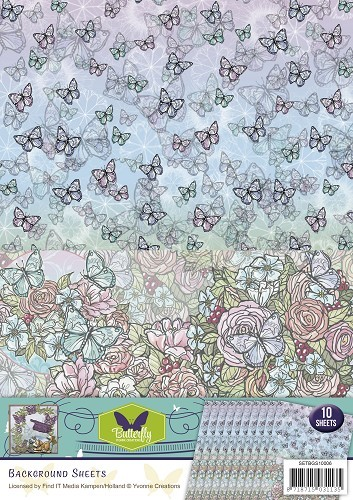 Yvonne Creations Background Sheet - Butterfly Collection 6