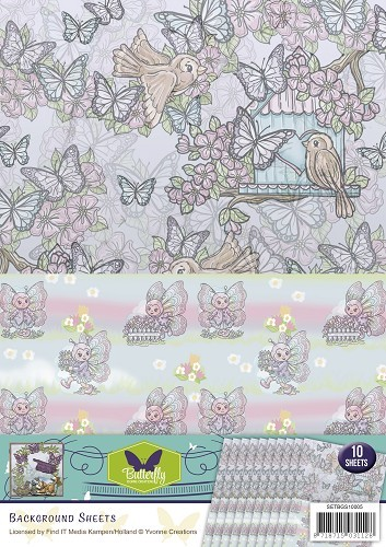 Yvonne Creations Background Sheet - Butterfly Collection 5