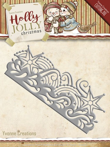 Yvonne Creations stans - Holly Jolly Christmas - snowflake border