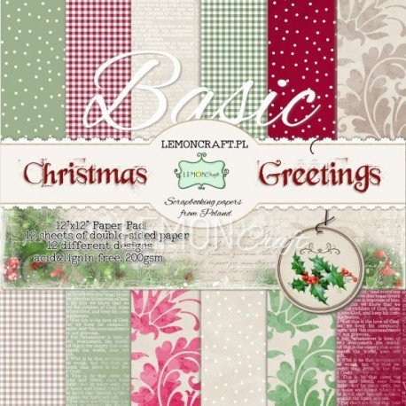 Lemon Craft Paper Pad - Basic Christmas Greetings