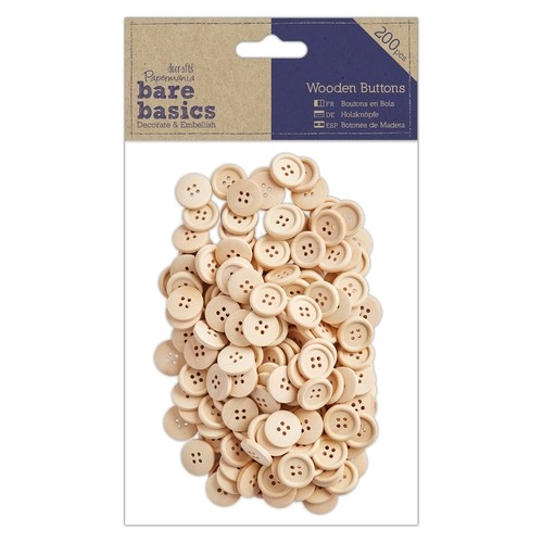 Docrafts Papermania Wooden Buttons (200 stuks)