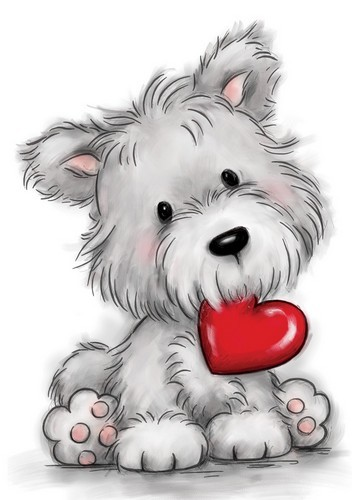 Wild Rose Studio Clearstamp - Dog with Heart