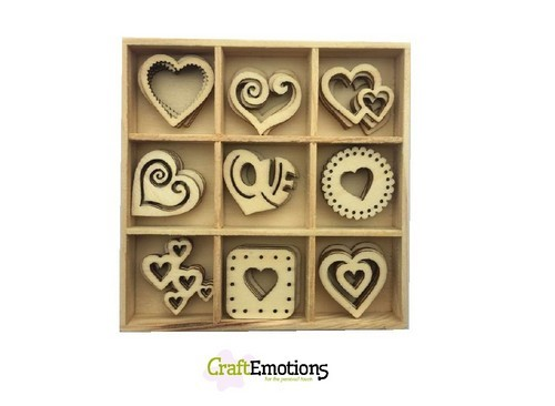 Craft Emotions Hout Ornament Box - hearts