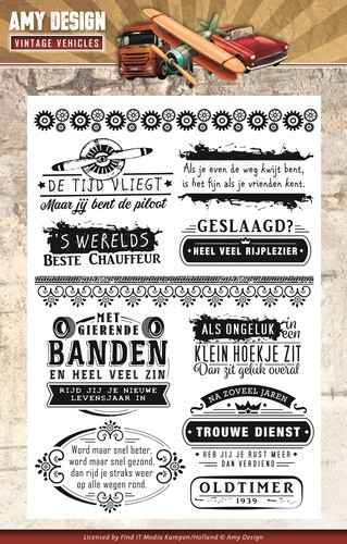 Clearstamps Amy Design - Vintage Vehicles (tekst)