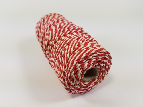 Twine 3 mm - rood/wit