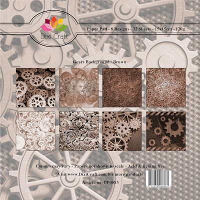 Dixi Craft Paper Pack - Gears Background - brown
