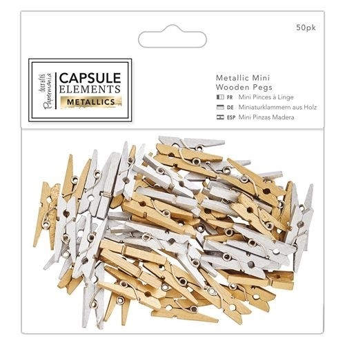 Docrafts Papermania Metallic Mini Wooden Pegs