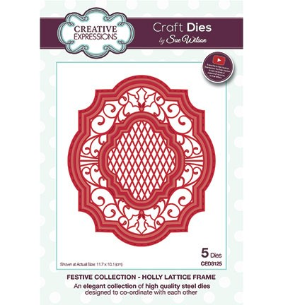 Creative Expressions Stans - Festive Collection - Holly Lattice Frame