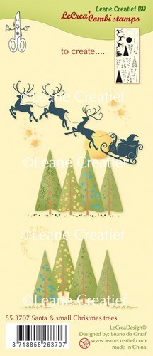 Leane Creatief Clearstamps - santa & small christmas trees