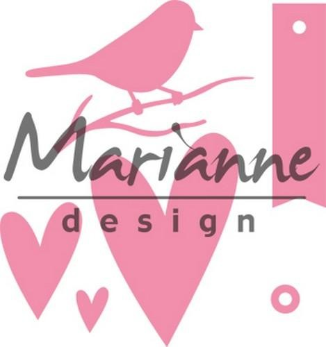 Collectables Marianne Design - giftwrapping - bird / hearts / tag