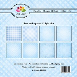 Dixi Craft Paper Pack - Lines and Squares - light blue