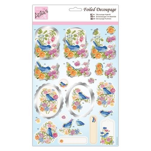 Docrafts Foiled Decoupage Stansvel - blue bird