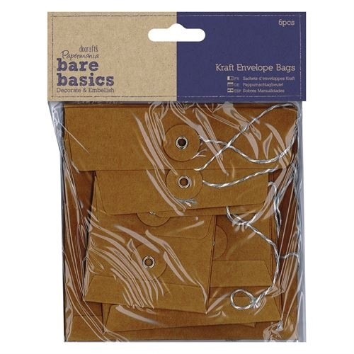 Docrafts Papermania Bare Basics - Kraft Envelope Bags - square brown