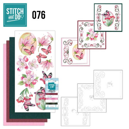 Stitch and Do Pakket - pink flowers