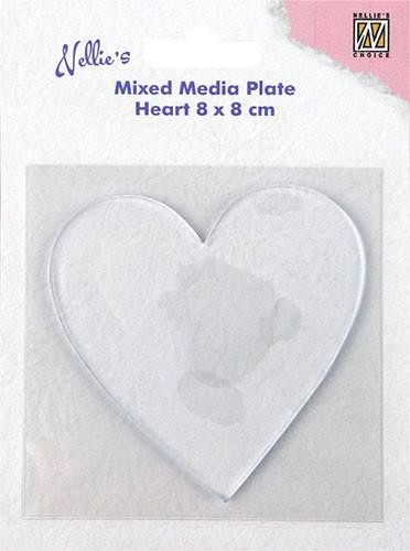 Nellie Snellen Mixed Media Plate - heart