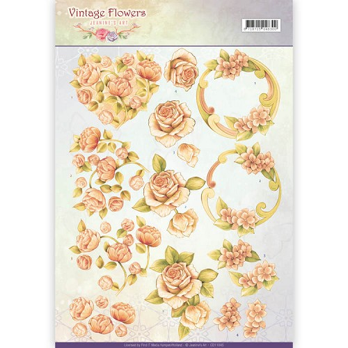 Knipvel Jeanine`s Art - Vintage Flowers CD11045