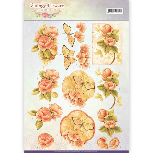 Knipvel Jeanine`s Art - Vintage Flowers CD11047