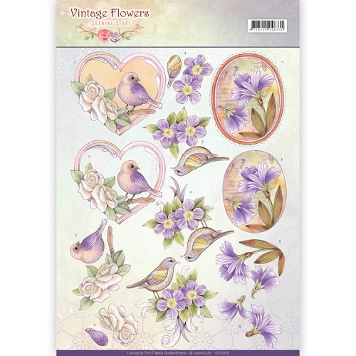 Knipvel Jeanine`s Art - Vintage Flowers CD11048