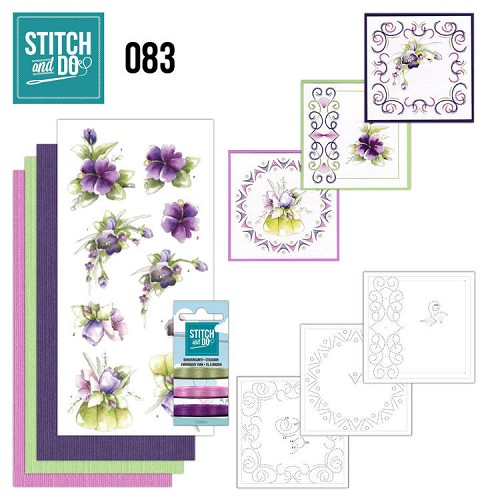 Stitch and Do Pakket - purple flowers