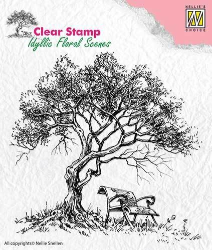 Clearstamp Nellie Snellen - Idyllic Floral Scenes - tree with bench