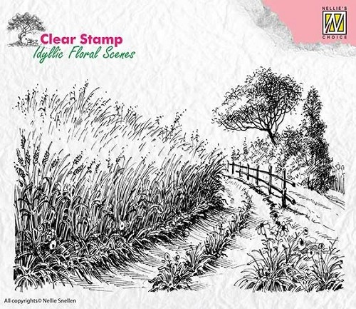 Clearstamp Nellie Snellen - Idyllic Floral Scenes - cornfield and country road