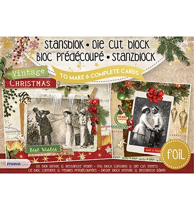 Studio Light Stansblok Foil A5 - vintage christmas