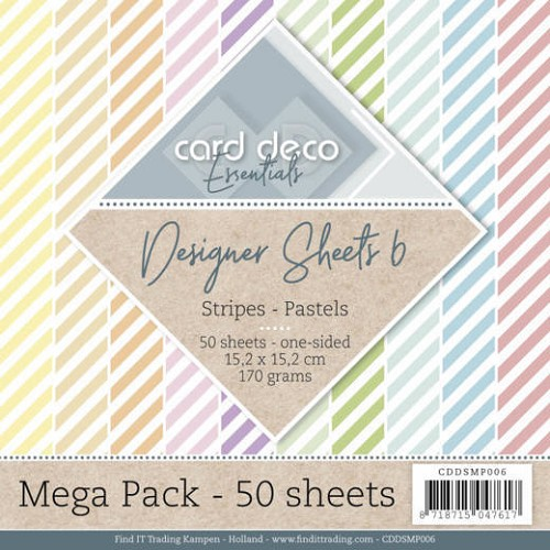Card Deco Designer Sheets - Mega Pack 6 - stripes pastels