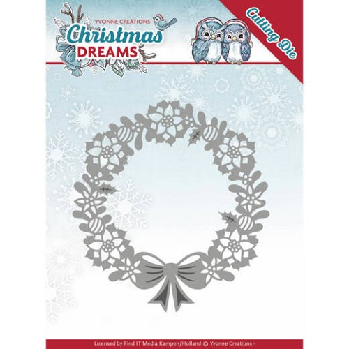 Yvonne Creations Stans - Christmas Dreams - poinsettia wreath