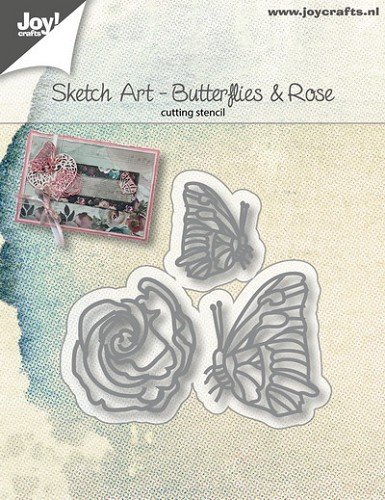 Joy Stencil - Sketch Art - butterflies & rose