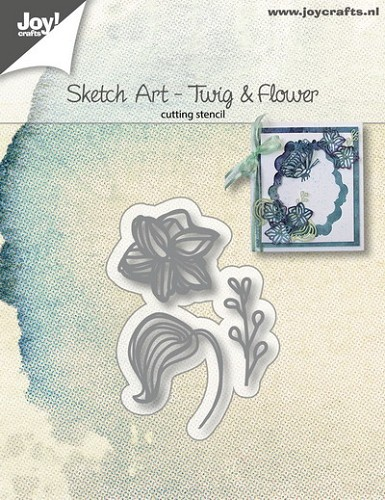Joy Stencil - Sketch Art - twig & flower