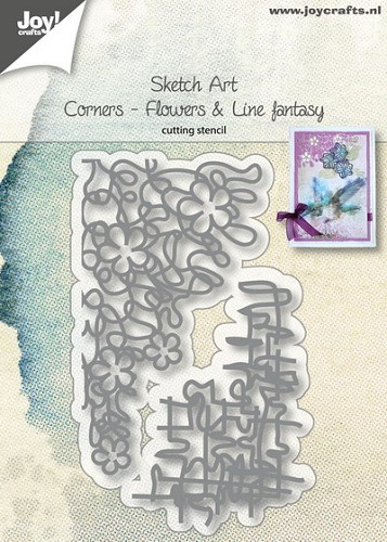 Joy Stencil - Sketch Art - corners flowers & line fantasy