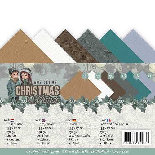 Linnenkarton Amy Design - Christmas Wishes (vierkant)
