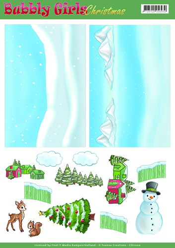 Yvonne Creations Background Sheet - Bubbly Girls Christmas 2