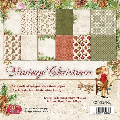 Craft & You Paper Pad - Vintage Christmas (12 x 12 inch)