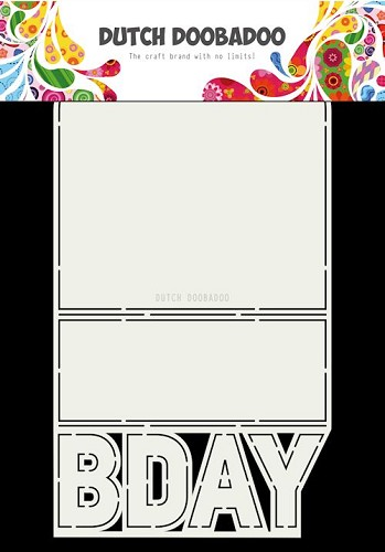 Dutch Doobadoo Stencil - Card Art - bday A4
