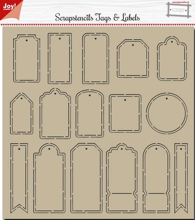 Joy Scrap Stencil - tags & labels