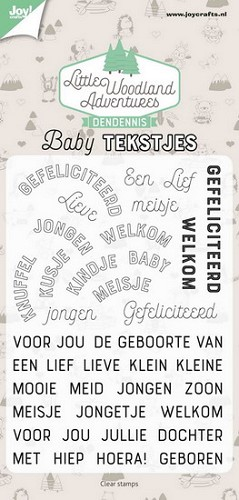 Joy Clearstamps - DenDennis Little Woodland Adventures - baby tekstjes