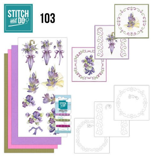 Stitch and Do Pakket - flowers in purple