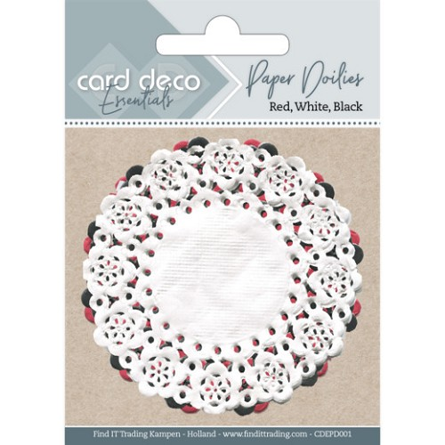 Card Deco Essentials - paper doilies - red/white/black
