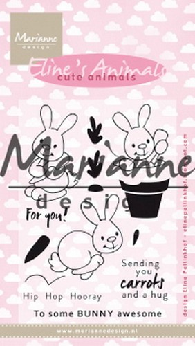 Marianne Design Clearstamps - Eline`s Cute Animals - konijntjes
